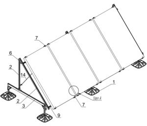 Опорная конструкция для установки четырех тепловых коллекторов