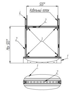 Рама для горизонтальных кабельных лотков 500xH (mun1)